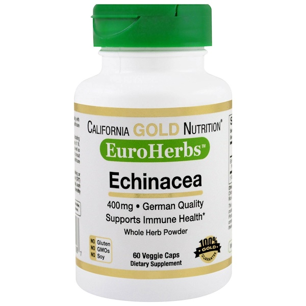 California Gold Nutrition, Echinacea, EuroHerbs, Whole Powder, 400 mg, 60 Veggie Caps (Discontinued Item)