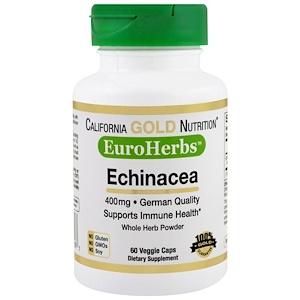 California Gold Nutrition, Echinacea, EuroHerbs, Whole Powder, 400 mg, 60 Veggie Caps отзывы покупателей