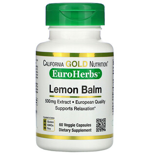 California Gold Nutrition, Lemon Balm Extract, European Quality, 500 mg, 60 Veggie Caps