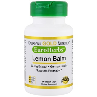 California Gold Nutrition, Lemon Balm Extract, EuroHerbs, European Quality, 500 mg, 60 Veggie Caps