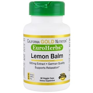 California Gold Nutrition, Lemon Balm Extract, EuroHerbs, 500 mg, 60 Veggie Caps