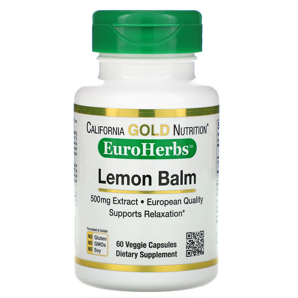 California Gold Nutrition, Lemon Balm Extract, European Quality, 500 mg, 60 Veggie Caps