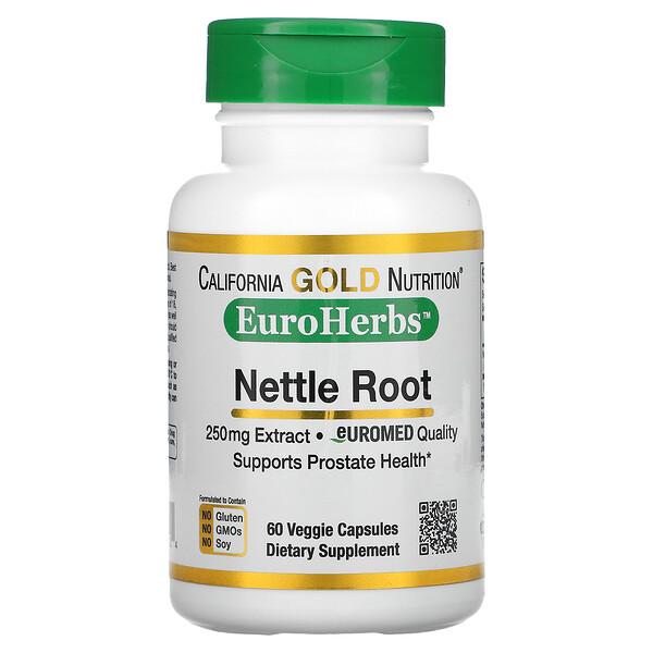 蕁麻根提取物,EuroHerbs,歐洲品質,250 毫克,60 粒素食膠囊
