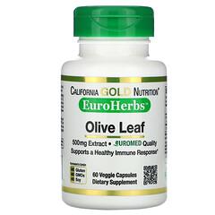 California Gold Nutrition, 橄欖葉提取物,EuroHerbs,歐洲品質,500 毫克,60 粒素食膠囊