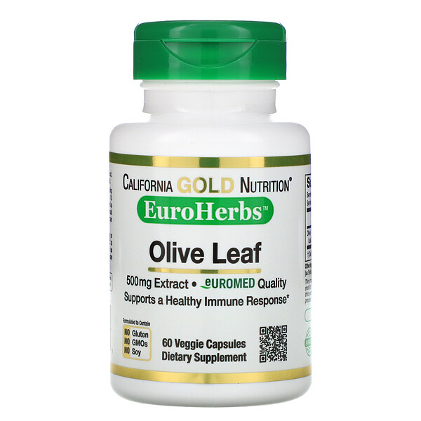 California Gold Nutrition, Olive Leaf Extract, EuroHerbs, European Quality, 500 mg, 60 Veggie Capsules