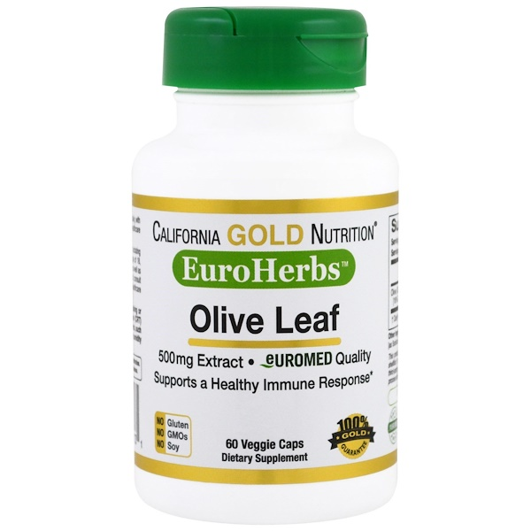 California Gold Nutrition, Olive Leaf Extract, EuroHerbs 500 mg, 60 Veggie Caps