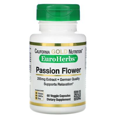 EuroHerbs, пассифлора, 250мг, 60растительных капсул citicoline cdp choline 250 мг 60 капсул