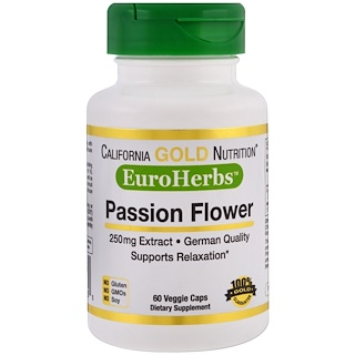 California Gold Nutrition, Passion Flower, EuroHerbs, European Quality, 250 mg, 60 Veggie Caps