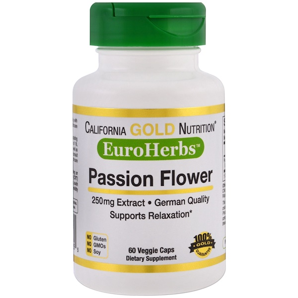 Passion Flower, EuroHerbs, 250 mg, 60 Veggie Caps