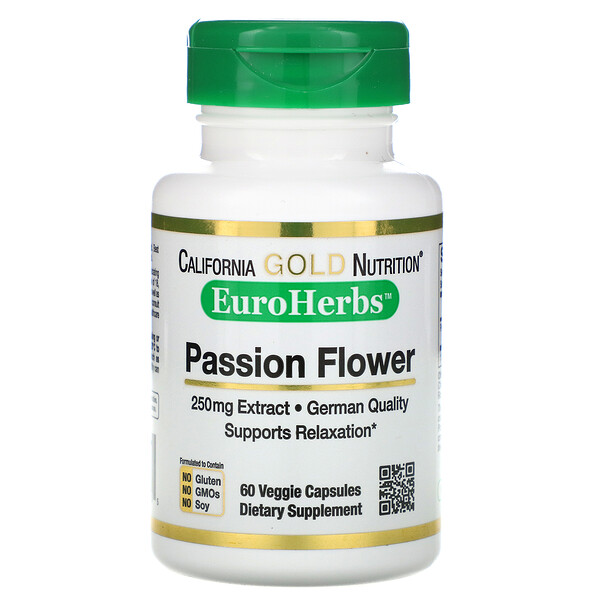 Passion Flower, EuroHerbs, 250 mg, 60 Veggie Capsules