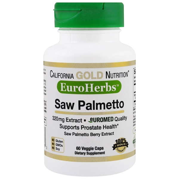 California Gold Nutrition, Extrato de Saw Palmetto, EuroHerbs, Qualidade Europeia, 320 mg, 60 Cápsulas Vegetais (Discontinued Item)