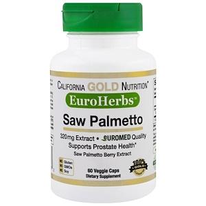 California Gold Nutrition, Saw Palmetto Extract, EuroHerbs, European Quality, 320 mg,  60 Veggie Caps отзывы покупателей