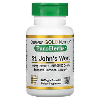 California Gold Nutrition, 貫葉連翹提取物,EuroHerbs,Euromed Quality,300 毫克,60 粒素食膠囊