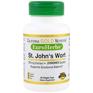 California Gold Nutrition, St. John's Wort Extract, EuroHerbs, 300 mg,  60 Veggie Caps