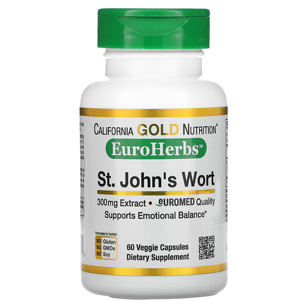 St. John's Wort Extract, EuroHerbs, European Quality, 300 mg, 60 Veggie Capsules