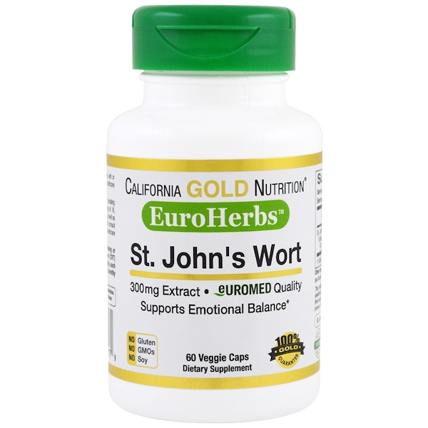 California Gold Nutrition, St. John's Wort Extract, EuroHerbs, European Quality, 300 mg,  60 Veggie Caps