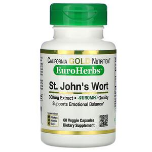California Gold Nutrition, St. John's Wort Extract, EuroHerbs, European Quality, 300 mg,  60 Veggie Caps отзывы