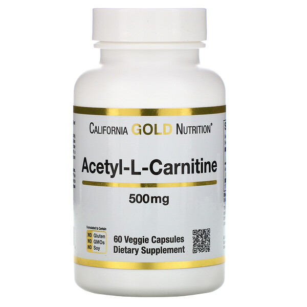 California Gold Nutrition, Acetyl-L-Carnitine, 500 mg, 60 Veggie Capsules