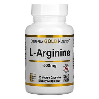 California Gold Nutrition, L-精氨酸,AjiPure,500 毫克,60 粒素食胶囊