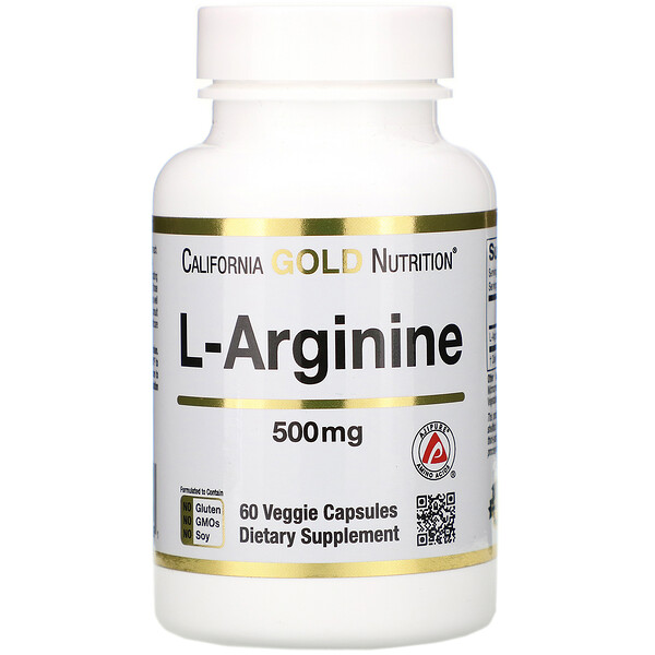 California Gold Nutrition, L-Arginine, AjiPure, 500 mg, 60 Veggie Caps