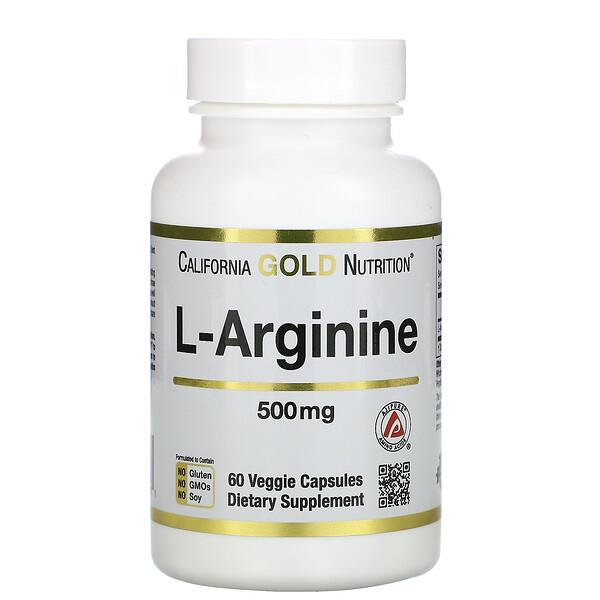 L-Arginine, AjiPure, 500 mg, 60 Veggie Capsules