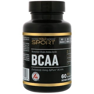 California Gold Nutrition, Sport, BCAA, 500 mg, 60 cápsulas vegetales