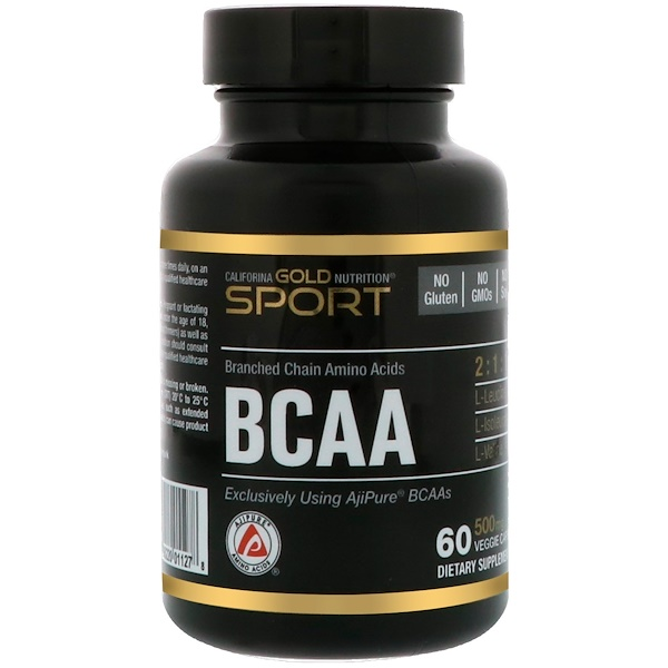 California Gold Nutrition, BCAA, AjiPure® Branched Chain Amino Acid, 500 mg, 60 Veggie Caps