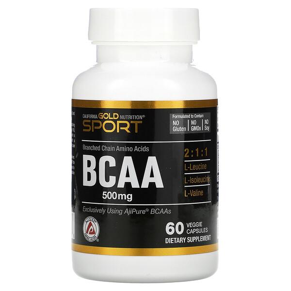 California Gold Nutrition, 支鏈氨基酸,AjiPure® 支鏈氨基酸,500 毫克,60 粒素食膠囊
