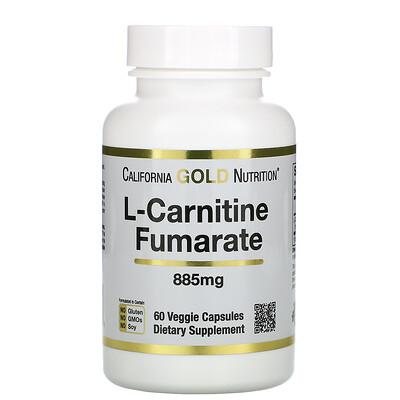 Купить California Gold Nutrition Alfasigma, L-карнитин фумарат, из Европы, 885 мг, 60 растительных капсул