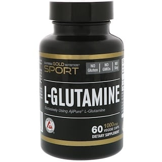 California Gold Nutrition, L-Glutamina, AjiPure, 1000 mg, 60 cápsulas vegetales