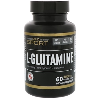 California Gold Nutrition, L-Glutamine, AjiPure, 1000 mg, 60 Veggie Caps