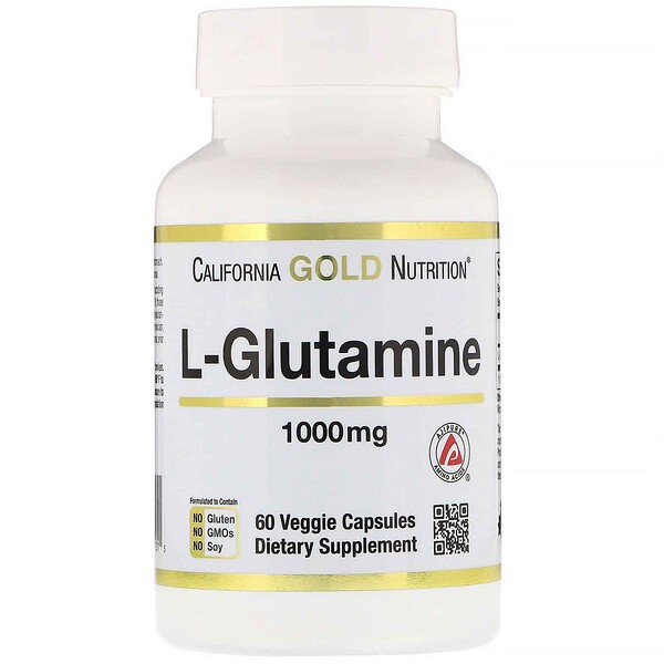 California Gold Nutrition, L-Glutamina, AjiPure, 1000 mg, 60 cápsulas veganas
