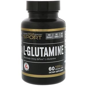 California Gold Nutrition, L-глутамин, AjiPure, 1000 мг, 60 вегетарианских капсул