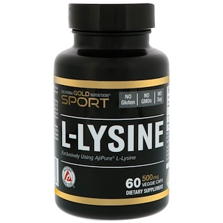 California Gold Nutrition, L-Lysine, 500 mg, 60 Veggie Caps