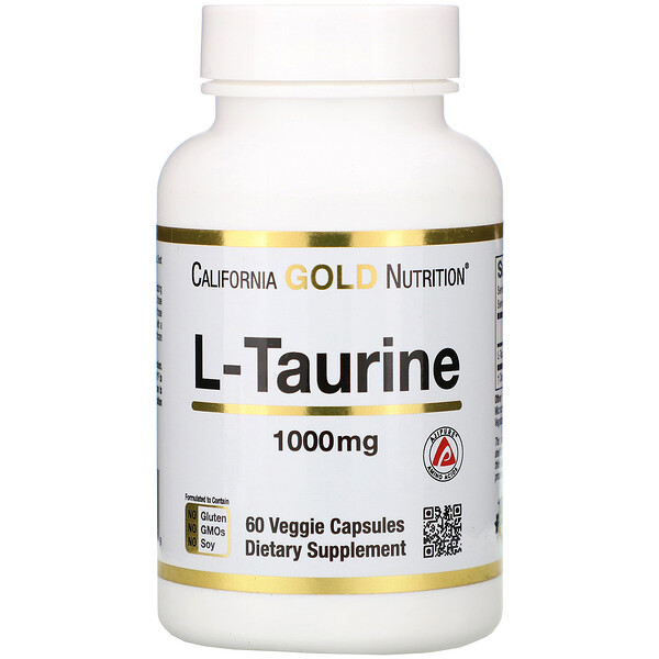 California Gold Nutrition, L-Taurina, 1000 mg, 60 Cápsulas Vegetais
