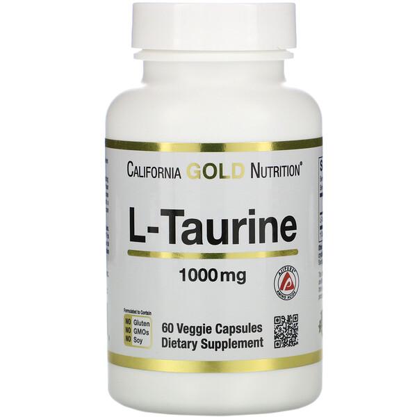 L-Taurine, 1,000 mg, 60 Veggie Capsules