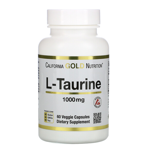 California Gold Nutrition, L-taurina, AjiPure, 1000 mg, 60 cápsulas vegetales