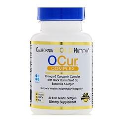 California Gold Nutrition, OCur, Formule de soutien à l'inflammation, Complexe curcumine et oméga-3, 30 gélules de gélatine de poisson