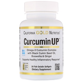 California Gold Nutrition, Curcumin UP Omega Blend, Turmeric Inflammation Formula, 30 Fish Gelatin Softgels