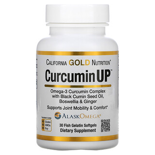 California Gold Nutrition, CurcuminUP, Omega-3 & Curcumin Complex, Joint Mobility & Comfort Support, 30 Fish Gelatin Softgels