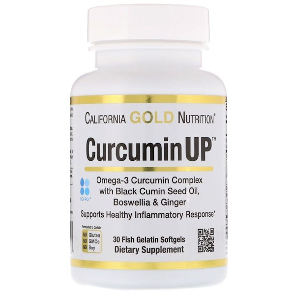 California Gold Nutrition, Curcumin UP, Fórmulas de Inflamação, 30 Gelatina de Peixe Softgels