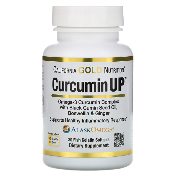 California Gold Nutrition, CurcuminUP, Omega-3 Curcumin Complex, Inflammation Support, 30 Fish Gelatin Softgels
