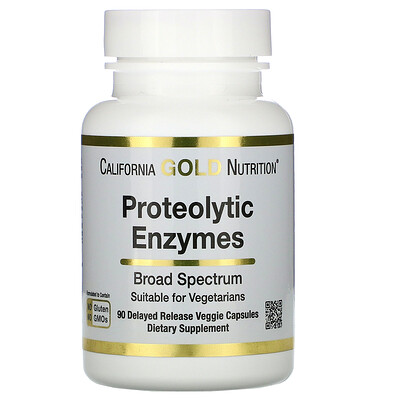 California Gold Nutrition протеолитические ферменты широкого спектра, 90растительных капсул с отсроченным высвобождением