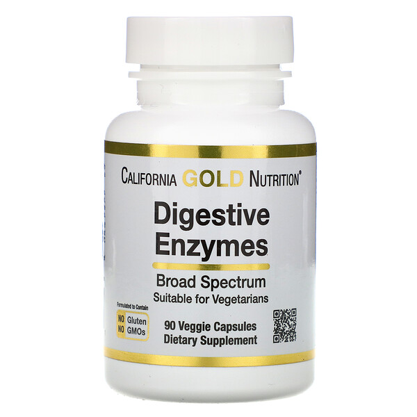 California Gold Nutrition, Digestive Enzymes, Broad Spectrum, 90 Veggie Capsules