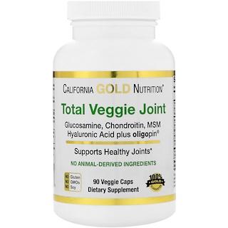 California Gold Nutrition, Fórmula Vegetal Total para Articulações, Glucosamina e Condroitina Vegetarianas, com MSM, Ácido Hialurônico, Oligopin, 90 Cápsulas Vegetais