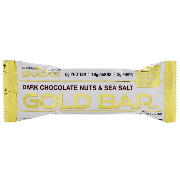 California Gold Nutrition, Gold Bar, Dark Chocolate Nuts & Sea Salt Bar, 1.4 oz (40 g)