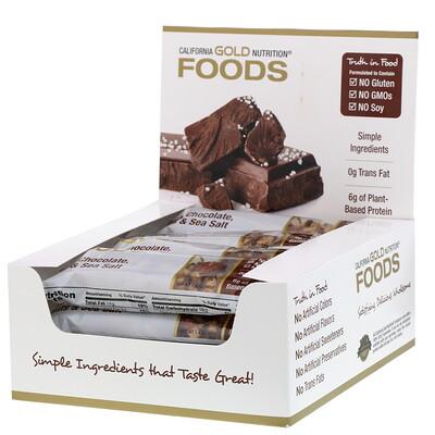 Купить Foods, батончики с черным шоколадом, орехами и морской солью, 12шт., 40г (1, 4унции) каждый