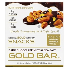 California Gold Nutrition, ゴールドバー、ダークチョコレートナッツ & 海塩バー、各1.4 oz (40 g)