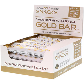 California Gold Nutrition, Barra de Oro, Barra con Nueces, Chocolate Oscuro & Sal de Mar, 12 Barras, 1.4 oz (40 g) Cada una