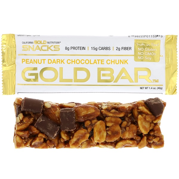 California Gold Nutrition, Gold Bar, Peanut Dark Chocolate Chunk, 1.4 oz (40 g)
